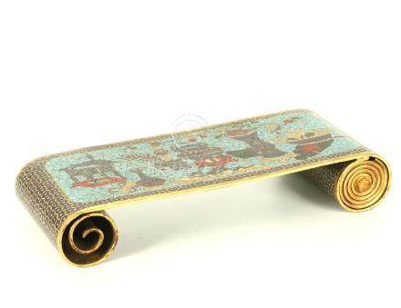 A CHINESE CLOISONNÉ ENAMEL BRONZE MINIATURE TABLE