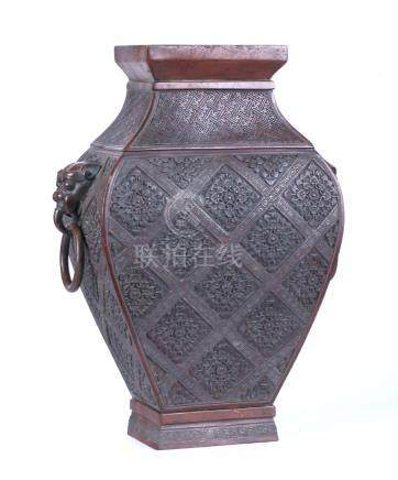 A CHINESE SILVER INLAID BRONZE VESSEL