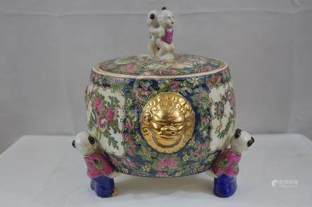 Chinese Porcelain Lidded Bowl w/ Children (Newer)