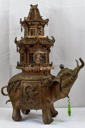 Chinese Cast Bronze Censor/Elephant 20th c