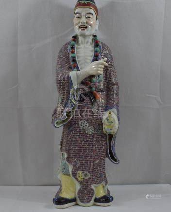 Large Chinese Famille Rose Figure 20th C