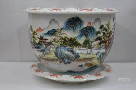 Fine Chinese Famille Rose Planter & Underplate 20ThC