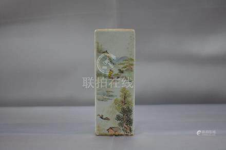 Chinese Famille Rose Pen Holder with mark and calligrap