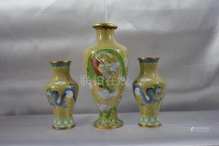 3PC Cloisonne Dragon Vases