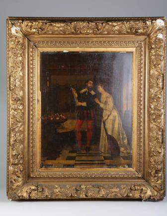 Oil on Board Painting of Man and Lady, Signed