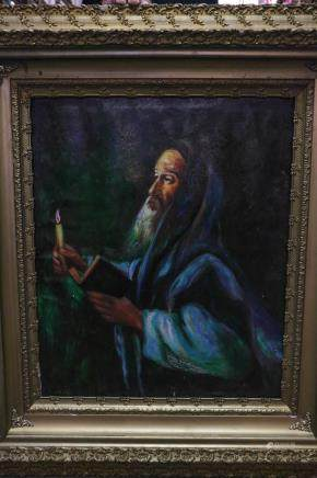 20th C. Oil on Canvas of Rabbi w/ Candle