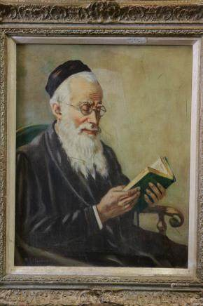 1950 Oil on Canvas Painting of a Rabbi Reading,Sig