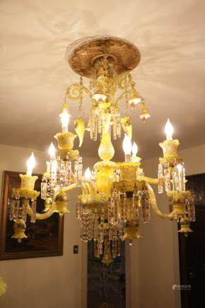 French 8 Light Oplin Overlay Yellow Chandelier