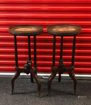 Pair of Mohogani Wood Small Tables