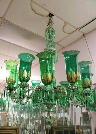 English Osler Triple Cut Glass Chandelier 12 Light