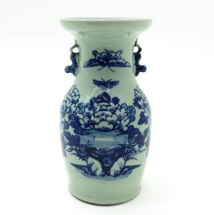 Celadon Vase with Blue Decor