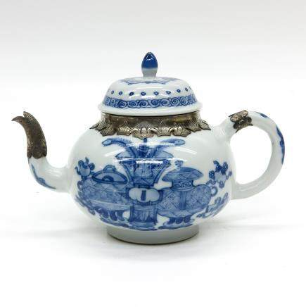 Blue and White Teapot with Silver Fittings