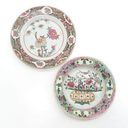 Lot of 2 Famille Rose Decor Plates