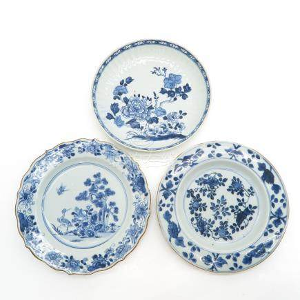Lot of 3 Blue and White Plates
