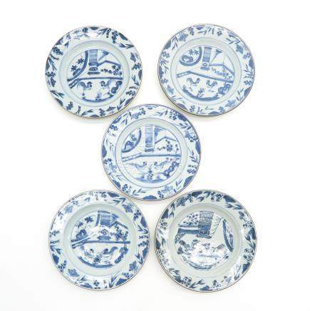 Lot of 5 Blue and White Plates