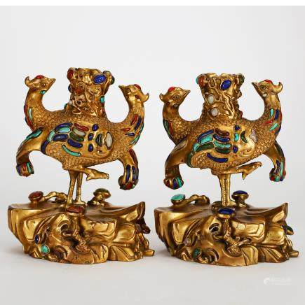 CHINESE GILT BRONZE CANDLE STANDS