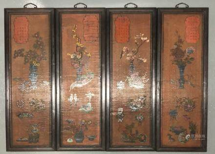 Four Lacquer Wood Panels with Floral Pattern