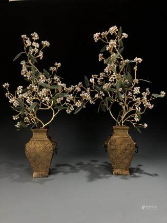 Pair Of Gilt-Bronze Jardinieres With Jadeite And Pearls