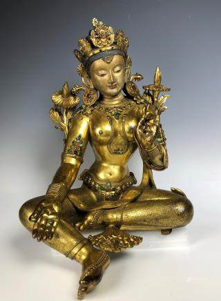 Large Gilt Bronze Figure of Shyama Tara