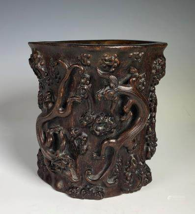 Carved Agar Wood Brush Pot