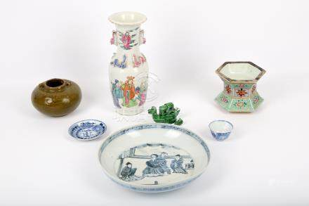 An interesting collection of Chinese ceramics, mostly 19th Century, comprising a famille verte