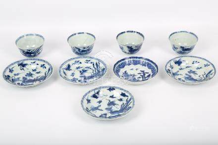 A set of four blue and white Chinese porcelain teabowls and saucers, Qing Dynasty, Kangxi era,