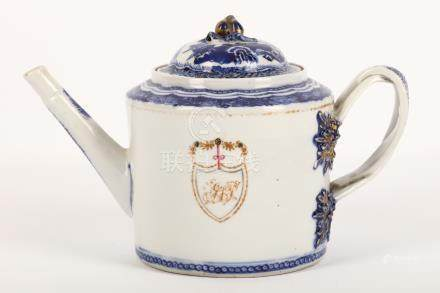 A Chinese export blue and white gilded teapot and cover, 18th Century, Qianlong period, with a