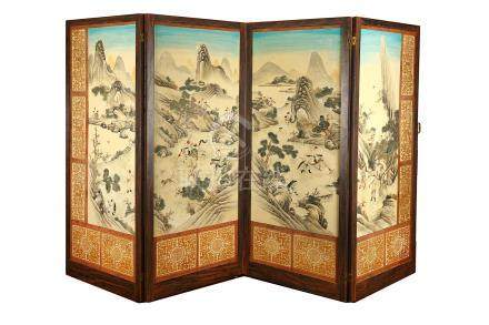 A Chinese four-panel screen, 20th Century, painted with a scene of warriors practising in