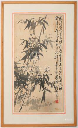 Chinese school, Zhou Zhuangou (b.1936), a painting of bamboo, ink on paper, seal mark, dated 1981,