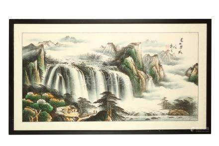 A Chinese landscape painting, depicting a river scene with cascading waterfalls, 65 x 132cm,