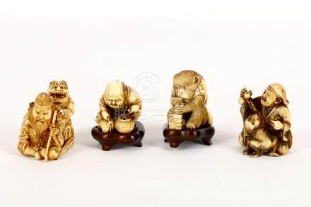 A collection of four Japanese carved ivory netuskes, Meiji period, 19th Century, comprising a