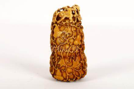 A Chinese carved ivory double gourd snuff bottle and cover, Qing Dynasty, 18th / 19th Century, the