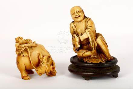 Two Chinese ivory carvings, Qing Dynasty, 18th / 19th Century, comprising a boy seated on a