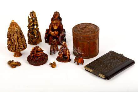 A collection of Chinese ivory, wood and tortoiseshell carvings, Qing Dynasty, 18th / 19th Century,