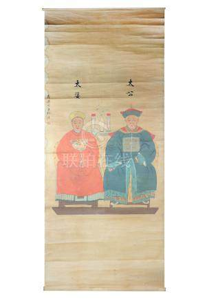 A large Chinese hanging scroll, 19th Century, painted with two Mandarin figures in ink and colour on
