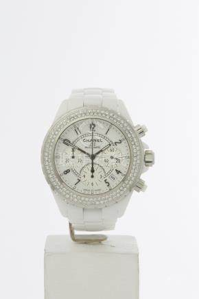 Chanel J12 Diamond Chronograph White Ceramic - H1007