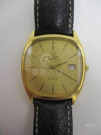 An Omega De Ville gents quartz, gold plated wristwatch, circa 1970, having a gilt baton dial and