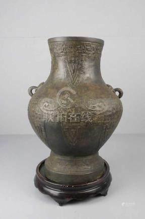 GEFÄSS / VASE , China, ungemarkt, Metall in Bronzeanmutung / Bronze (leicht magnetisch), braun
