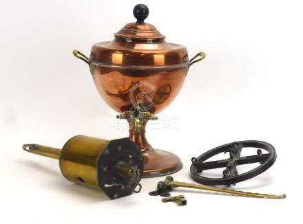 A Victorian copper and brass mounted samovar,