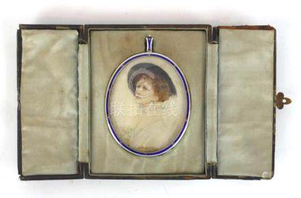 An early 20th century miniature watercolour of an elegant lady in an oval silver and enamelled