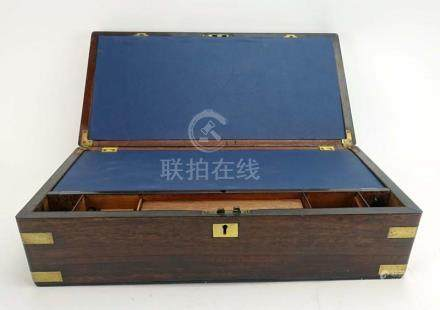 A 19th century rosewood and brass mounted writing slope, w.