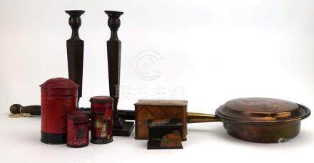 A group of collectables including a French kingwood,