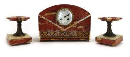 A French clock garniture, the enamelled face with Arabic numerals, named 'R.