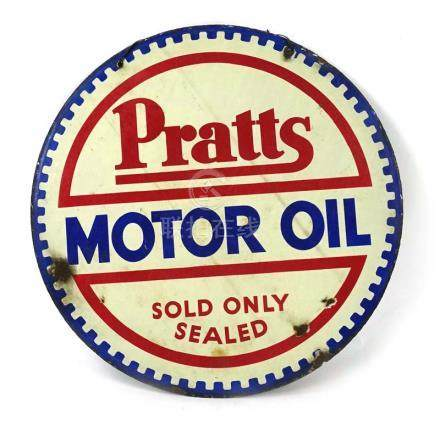 A double-sided enamelled advertising sign 'Pratts Motor Oil, Sold only Sealed', d.