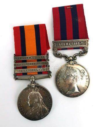 A cased pair of medals including The Indian General Service Medal with the Bura 1885-7 clasp and