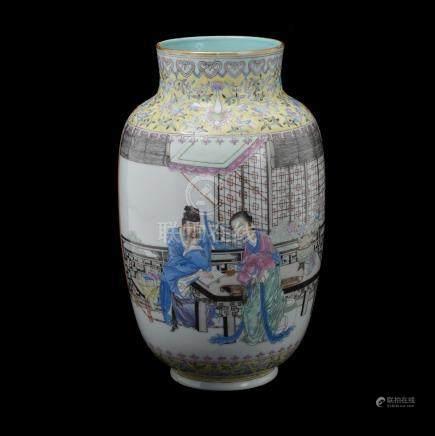 Famille Rose Figural Vase, Republic Period