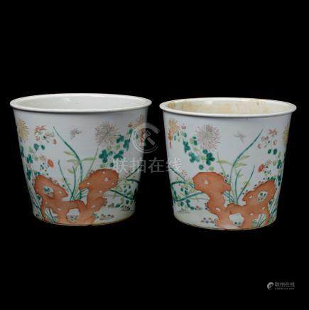 Pair of Famille Rose Cylindrical Planters, Late 19th C