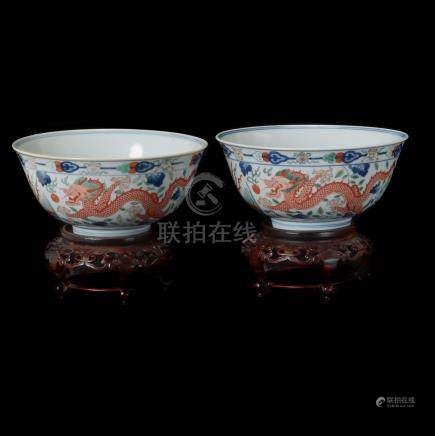 Pair of Wucai 'Dragon and Phoenix' Bowls, Daoguang