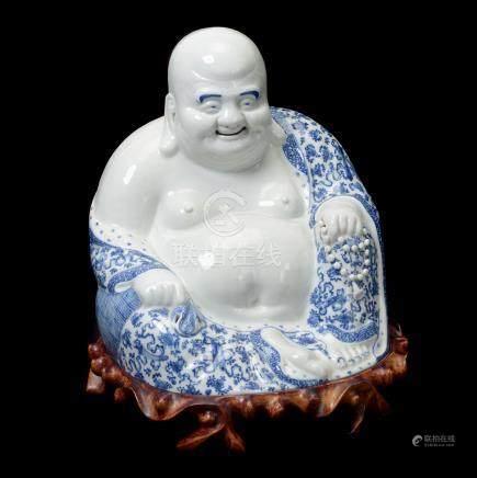Underglaze Blue Figure of Budai, Republic Period