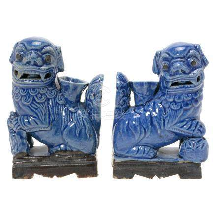 Pair of Blue Glazed 'Buddhist Lion' Incense Holders, Qing